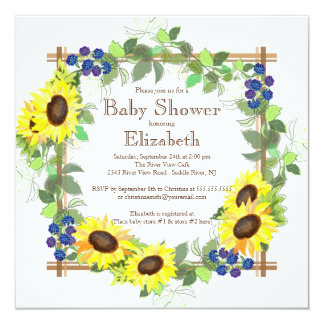 "Fall Sunflowers Gender Neutral Baby Shower 5.25"" Square Invitation Card"
