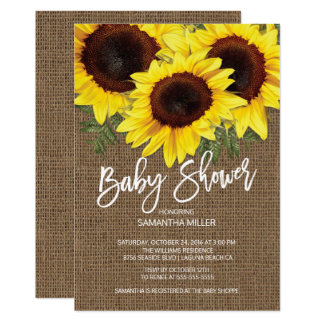 Elegant Fall Sunflowers Neutral Baby Shower Card