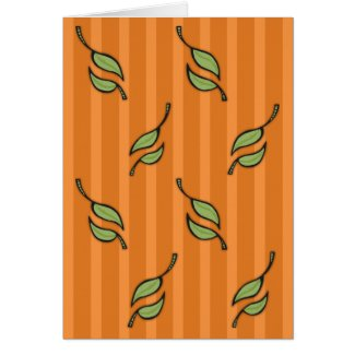 Fall Tango Leaves green orange Card