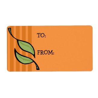 Fall Tango Leaves green orange Gift Tag Sticker