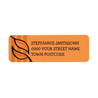 Fall Tango Leaves orange Return Address Label