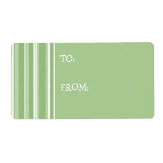 Fall Tango Stripes green Gift Tag Sticker