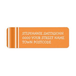 Fall Tango Stripes orange Return Address Label