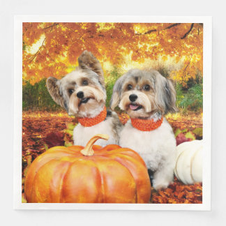 Fall Thanksgiving - Max & Leo - Yorkies Paper Dinner Napkin