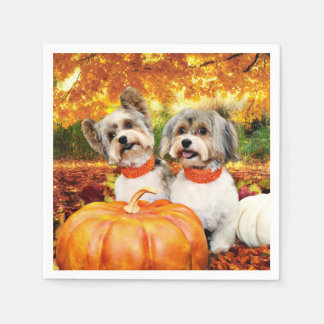 Fall Thanksgiving - Max & Leo - Yorkies Paper Napkin