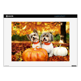 Fall Thanksgiving - Max & Leo - Yorkies Skins For Laptops