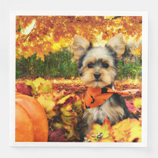 Fall Thanksgiving - Max - Yorkie Paper Dinner Napkin