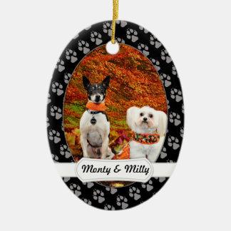 Fall Thanksgiving - Monty Fox Terrier & Milly Malt Ceramic Ornament