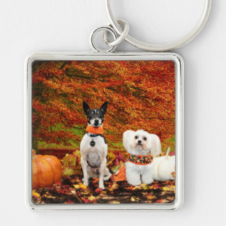 Fall Thanksgiving - Monty Fox Terrier & Milly Malt Keychain