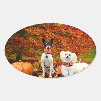 Fall Thanksgiving - Monty Fox Terrier & Milly Malt Oval Sticker