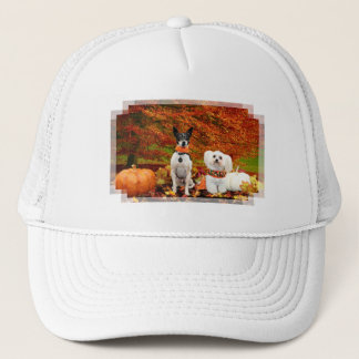 Fall Thanksgiving - Monty Fox Terrier & Milly Malt Trucker Hat