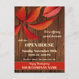Fall Thanksgiving Open House Company Invitation Postcard