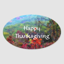Fall Thanksgiving Photograph Oval Sticker