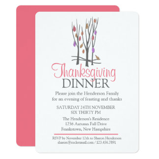 Fall Thanksgiving tree Dinner invitation