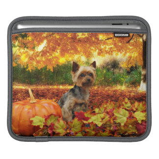 Fall Thanksgiving - Tucker - Yorkie iPad Sleeve