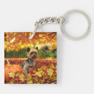Fall Thanksgiving - Tucker - Yorkie Keychain