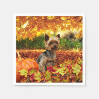 Fall Thanksgiving - Tucker - Yorkie Napkin