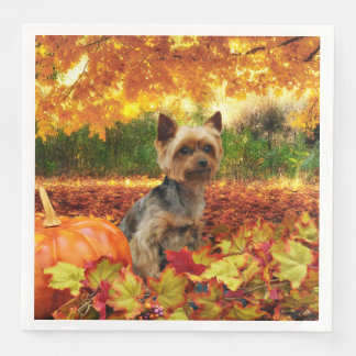 Fall Thanksgiving - Tucker - Yorkie Paper Dinner Napkin