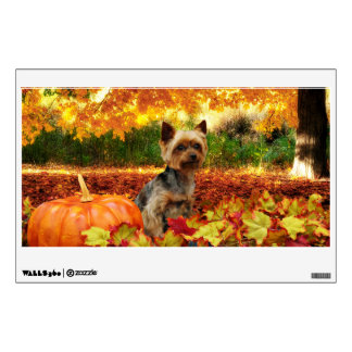 Fall Thanksgiving - Tucker - Yorkie Wall Sticker
