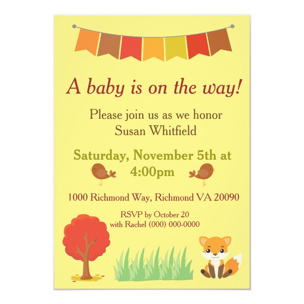 Fall Theme Baby Shower Fox Woodland Animals