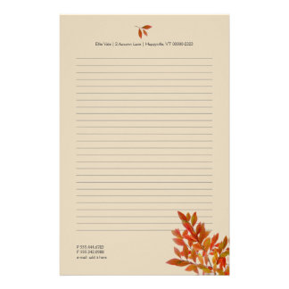 Fall Theme Personal Writing Paper Red Leaves