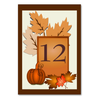 Fall Theme Wedding Table Number Table Cards