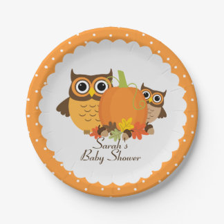 Fall Themed Baby Shower Cute Owl Paper Plates