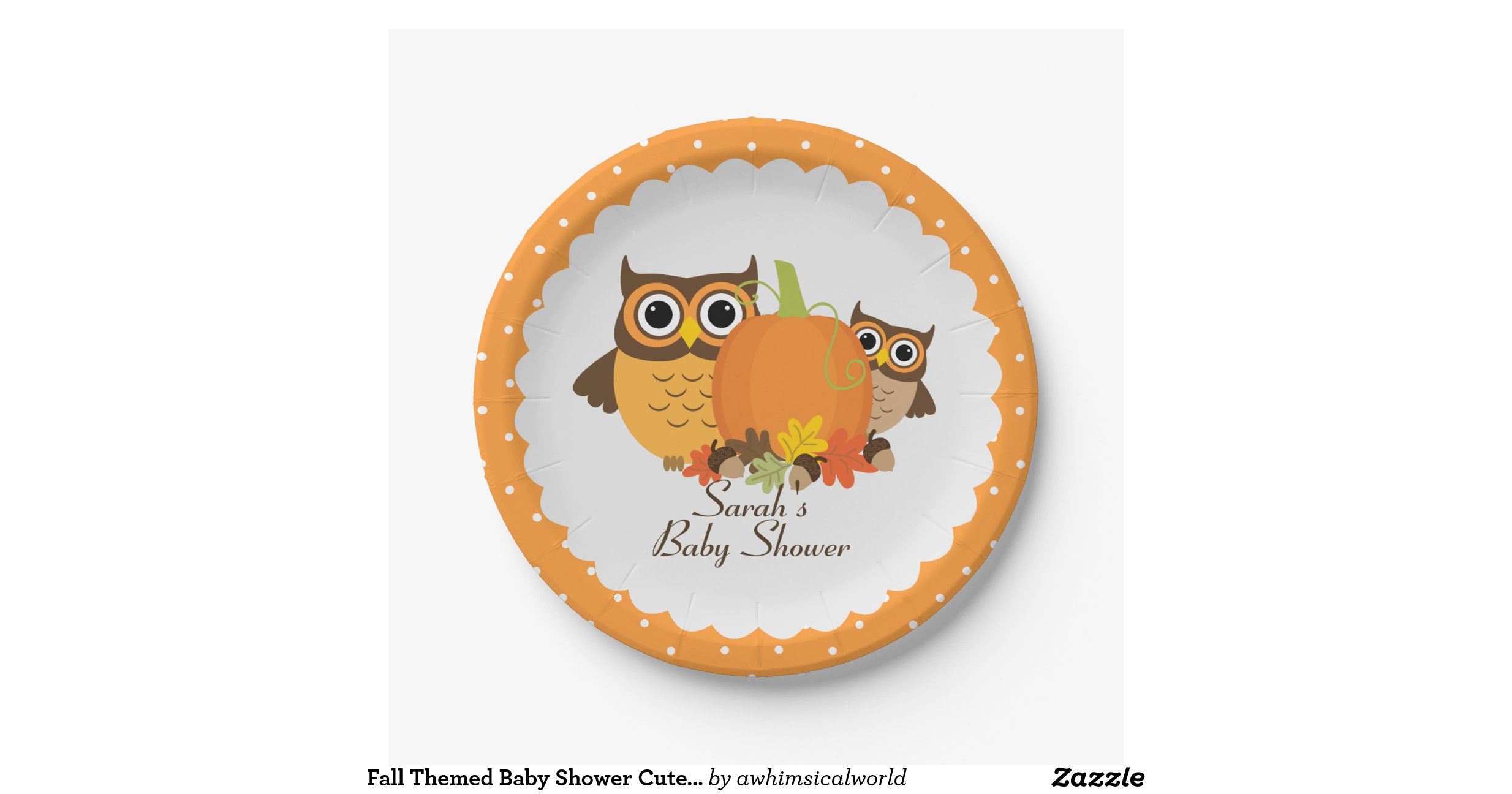 fall themed baby shower cute owl paper plates shindigzpaperplates