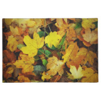 Fall-Themed Door Mat - Golden Leaves