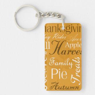 Fall Themed Key Chain - Autumn Word Art