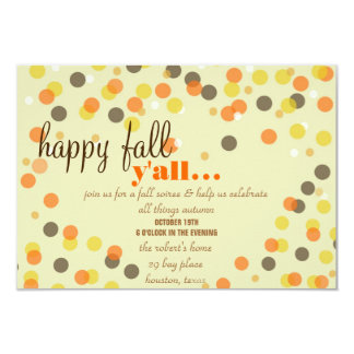 """Fall Themed Party Invitation 3.5"""" X 5"""" Invitation Card"""