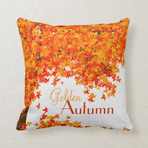 Fall Themed Throw Pillow Golden Autumn Home Decor Zazzle