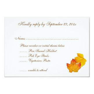 Fall Themed Wedding Menu List RSVP Cards Announcement