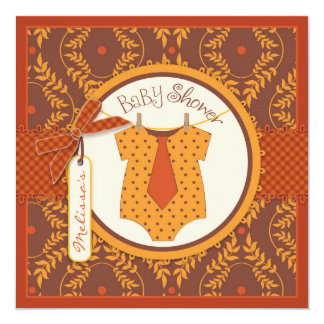 "Fall Tie and Autumn Damask Vine Boy Baby Shower 5.25"" Square Invitation Card"