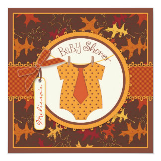 Fall Tie and Autumn Leaves Boy Baby Shower 5.25x5.25 Square Paper Invitation Card