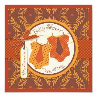 Fall Ties Autumn Damask Vine Twin Boys Baby Shower Card