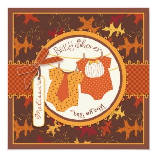 Fall Ties & Autumn Leaves Twin Boys Baby Shower Card