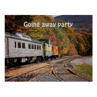 Fall Train going away party postcard