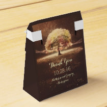 Fall Tree and Rustic String Lights Dreamy Wedding Favor Box