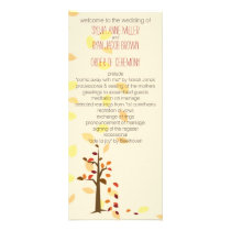 fall tree, autumn brown leaves  wedding program
