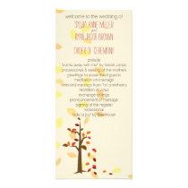 fall tree, autumn brown leaves  wedding program