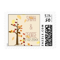 fall tree autumn brown leaves wedding stamps