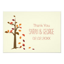 fall tree, autumn wedding Thank You cards
