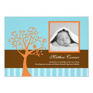 "Fall Tree Baby Boy Birth Announcement 5"" X 7"" Invitation Card"