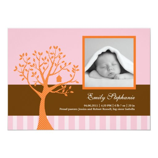 Fall Tree Baby Girl Birth Announcement