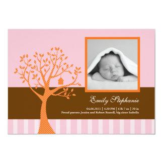 "Fall Tree Baby Girl Birth Announcement 5"" X 7"" Invitation Card"