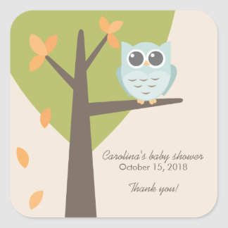 Fall Tree Branch Blue Owl Baby Shower Favor Square Sticker