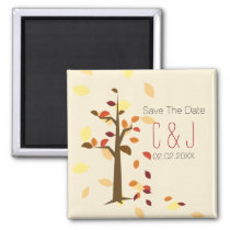 fall tree,  brown leaves save the date magnets