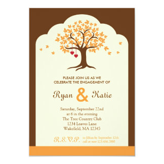 "Fall Tree Engagement Party Invitation 5"" X 7"" Invitation Card"