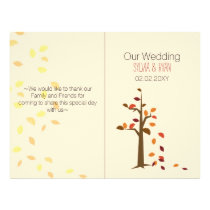 Fall tree, fall  bi fold Wedding program